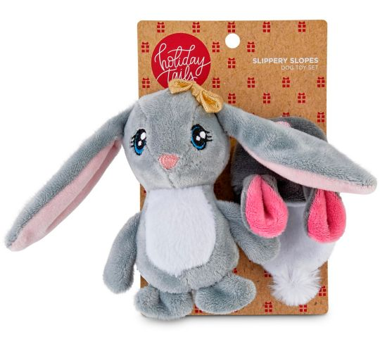 Holiday Snow Bunny & Hat Plush Dog Toy, 2-pk Product image