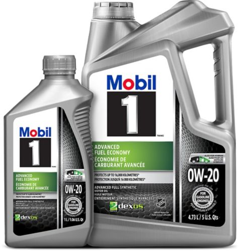 Mobil 1 0W20 Synthetic Motor Oil, 4.73-L + 1-L Product image