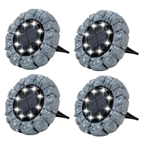 As Seen On TV Bell & Howell Outdoor Solar Disk Lights, Pebble