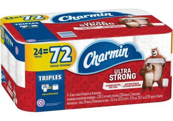 Charmin 2-Ply Ultra Strong Bathroom Tissue, 24 Triple Rolls