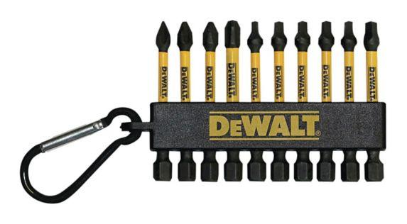 DEWALT Flex Torq Mix Bits with Carabiner Clip, 2-in, 10-pc