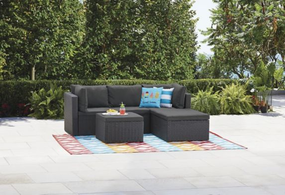 For Living Wicker Patio Sectional Set with Cushions, 3-pc