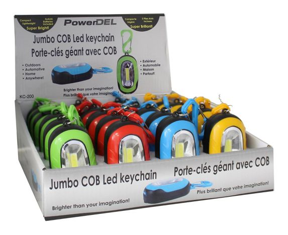 Jumbo COB LED Keychain, Assorted Colours