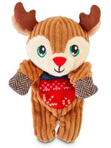 Petco Holiday Tails Flattie Plush Dog Toy, Deer, 6-in