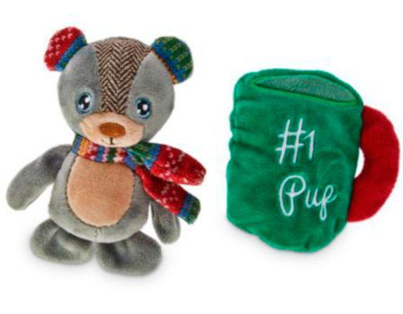 Petco Holiday Tails Bear & Mug Plush Dog, 4-in, 2-pk