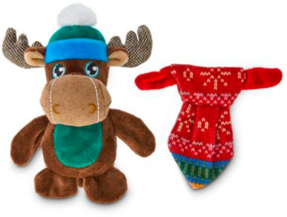 Petco Holiday Tails Moose & Tie Plush Dog Toy, 4-in, 2-pk