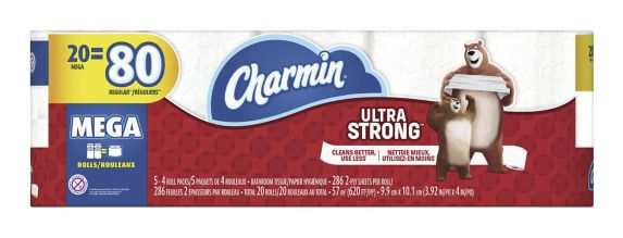Charmin Ultra-Strong Mega Roll Toilet Paper, 20-Roll