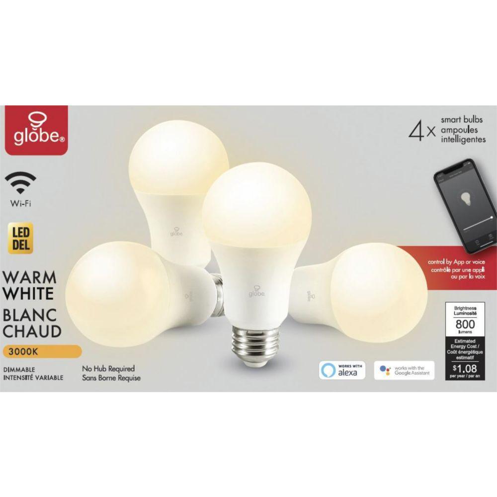 Globe LED Smart Bulbs, Warm White, 4-pk