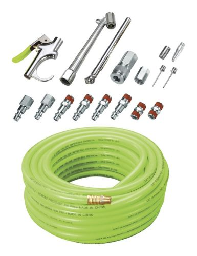 Hymair PVC Air Hose with Bonus Accessories Kit, 3/8-in x 50-ft