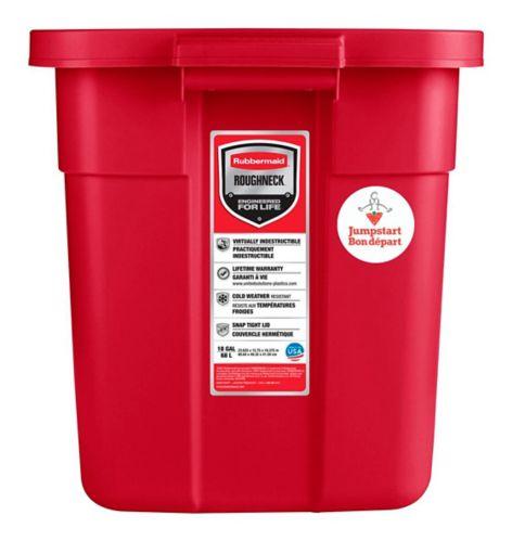 Rubbermaid Roughneck Jumpstart Red Storage Tote, 68-L