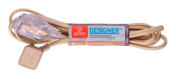 Globe Designer Extension Cord, White/Silver, 9-ft