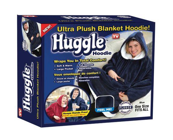 Couverture à capuche en peluche très douce Huggle Hoodie, bleu