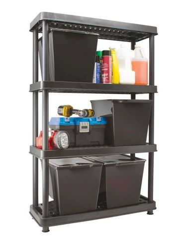 Tuff Store 4-Shelf Resin Rack with Totes
