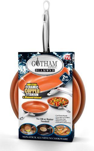 Poêle ronde antiadhésive Gotham Steel Diamond, céramique et cuivre, comme à la télé, paq. 2