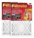 Filtre micro pour réduction des allergènes 3M Filtrete, protection contre les allergènes, MPR1000, 16 x 25 x 1 po, paq. 2 | Filtretenull