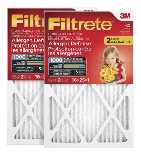 Filtre micro pour réduction des allergènes 3M Filtrete, protection contre les allergènes, MPR1000, 16 x 25 x 1 po, paq. 2