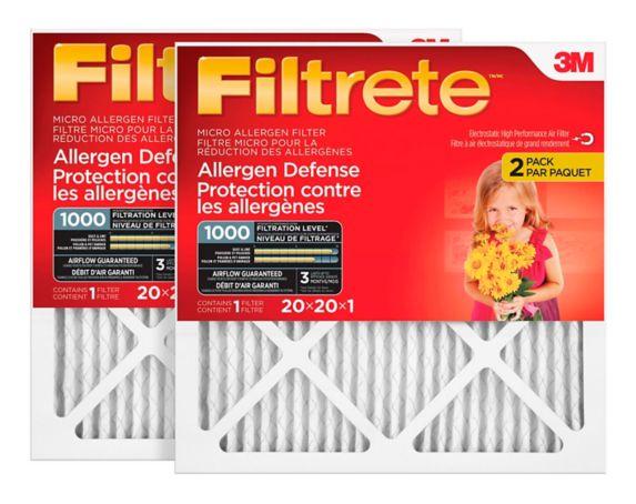 3M™ Filtrete™ Allergen Defense Micro Allergen Filter, MPR 1000, 20-in x 20-in x 1-in, 2-pk Product image