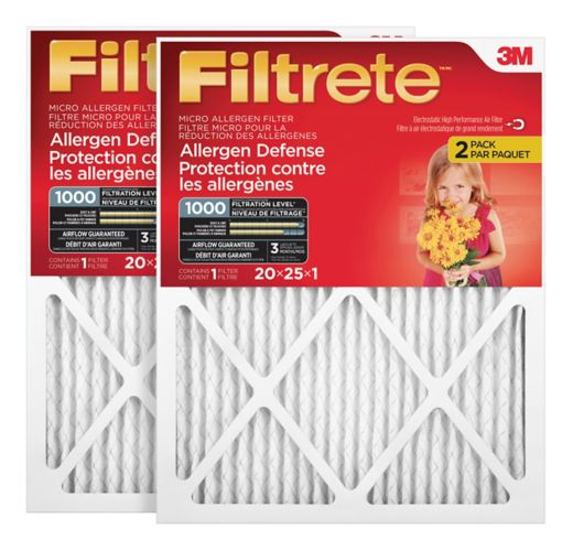 3M™ Filtrete™ Allergen Defense Micro Allergen Filter, MPR 1000, 20-in x 25-in x 1-in, 2-pk Product image
