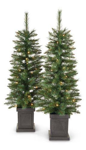 NOMA Pre-Lit Farrow Potted Christmas Tree Set, 4-ft, 2-pc