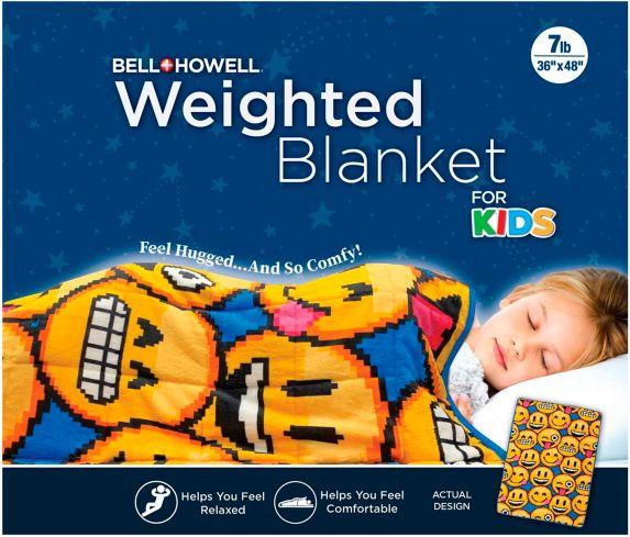 As Seen On TV Kid's Weighted Emoji Blanket, 7-lb