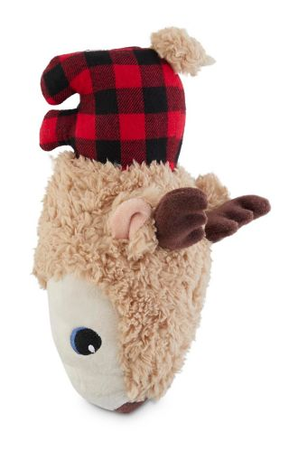 Petco Holiday Deer Bottle Cruncher Plush Dog Toy, 9-in