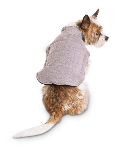 Petco Good2Go Flannel Puffer Dog Jacket, Grey