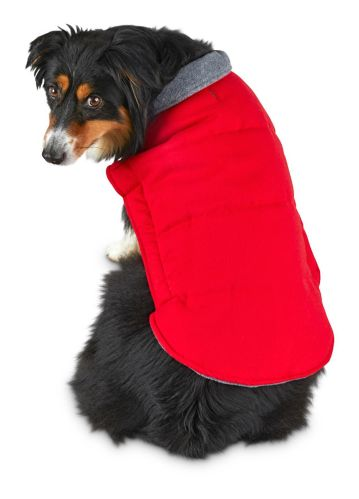 Petco Good2Go Flannel Puffer Dog Jacket, Red