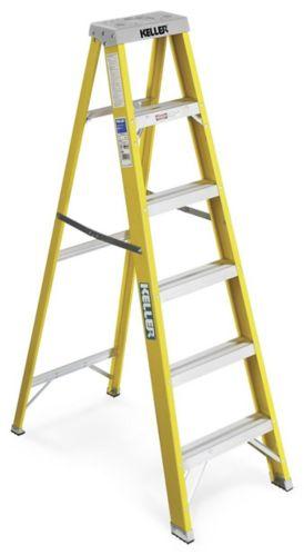 Keller Fibreglass Step Ladder, Grade 1, 6-ft