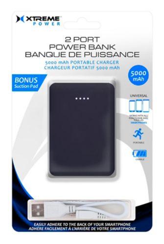 Chargeur portatif à 2 ports Xtreme Power, 5000 mAh, noir
