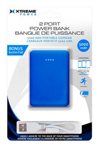 Chargeur portatif à 2 ports Xtreme Power, 5000 mAh, bleu