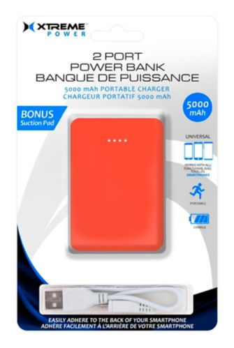Xtreme Power 5000mAh 2-Port Power Bank, Red