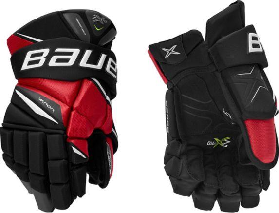 Bauer Vapor 2X Hockey Gloves, Senior, Black/Red