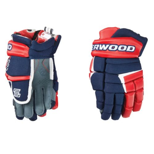 Gants de hockey Sherwood Code 5, junior, bleu marine/rouge/blanc