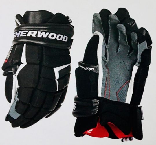 Gants de hockey SherwoodCode5, sénior, bleu marine/rouge/blanc