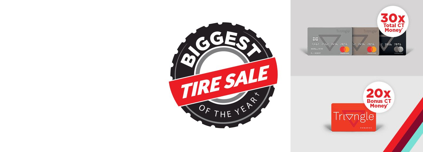 COLLECT 20X BONUS CT MONEY®* + SAVE UP TO 25%  on all qualifying tire purchases Oct. 23-25 with Triangle Rewards™ & 30X Total with a Triangle™ credit card. *Conditions apply.