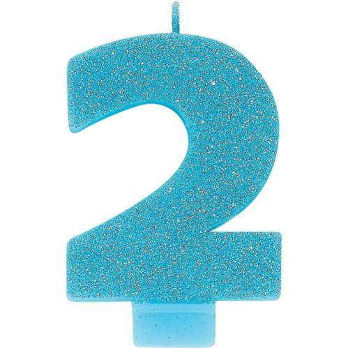 Bougie d'anniversaire, chiffre2, bleu des Caraïbes