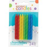 Bougies d'anniversaire en spirale, multicolore scintillant, paq. 24 | Amscannull