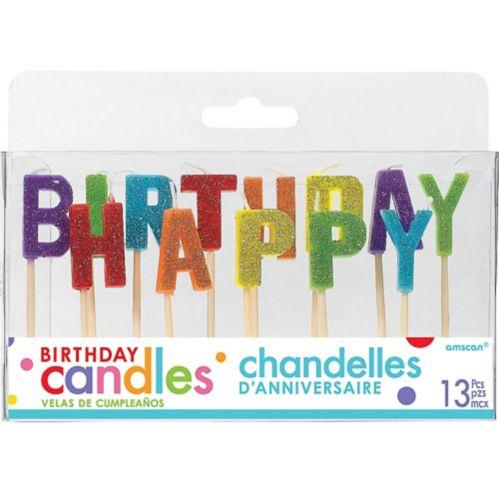 Bougies sur cure-dent Joyeux anniversaire scintillantes, arc-en-ciel, paq. 13 Image de l'article