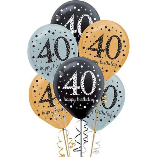 Sparkling Celebration 40th Birthday Balloons, 15-pk