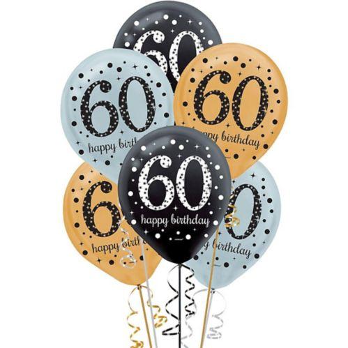 Sparkling Celebration 60th Birthday Balloons, 15-pk