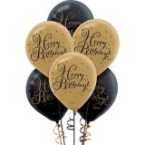 Black & Gold Birthday Balloons, 15-pk | Amscannull