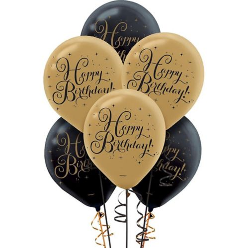 Black & Gold Birthday Balloons, 15-pk