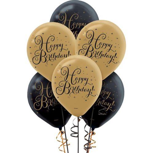 Ballons d'anniversaire noirs et dorés, paq. 15