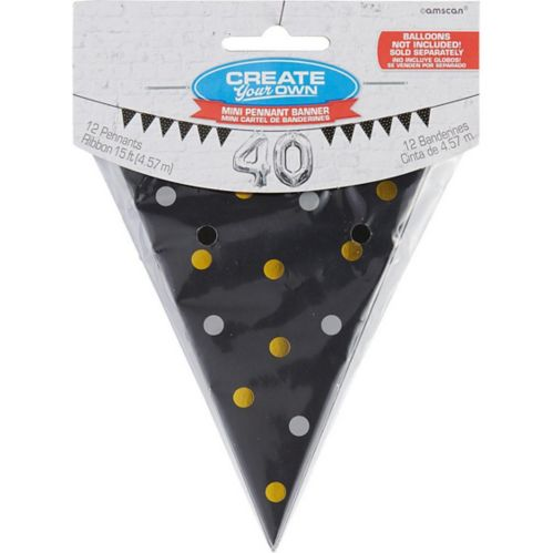 Mini Create Your Own Gold & Silver Polka Dots Pennant Banner