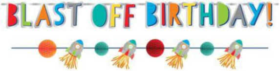 Blast Off Birthday Banners, 2-pk