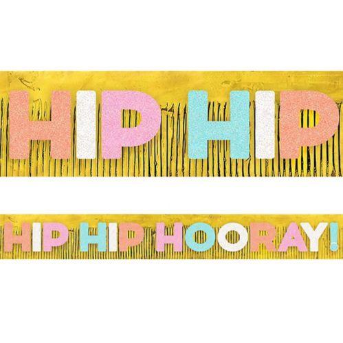 Banderole géante à frange scintillante Hip Hip Hooray