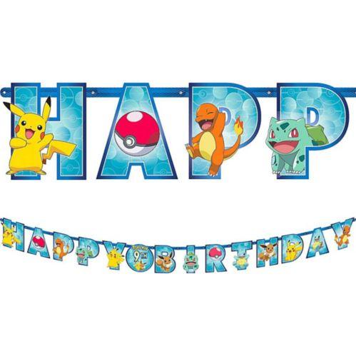 Banderole géante d'anniversaire à lettres Pokémon avec ajout d'âge, 10pi Image de l'article