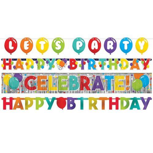 Birthday Balloon Banners, 4-pk