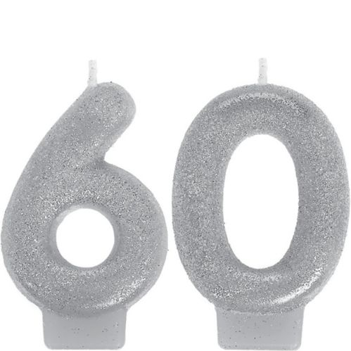 Glitter Silver Number 60 Birthday Candles, 2-pc