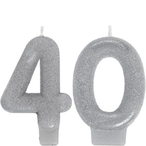 Glitter Silver Number 40 Birthday Candles, 2-pc
